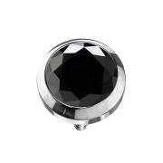 Dermal Anchor silber mit Kristall schwarz