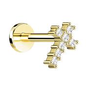 Micro Labret Innengewinde vergoldet Kreuz mit Kristall