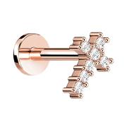 Micro Labret Innengewinde rosegold Kreuz mit Kristall