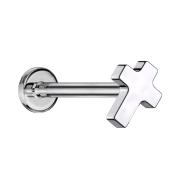 Micro Labret Innengewinde silber Kreuz