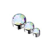 Dermal Anchor silber mit drei Kristallen multicolor