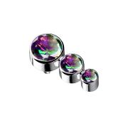 Dermal Anchor silber mit drei Kristallen dunkel multicolor