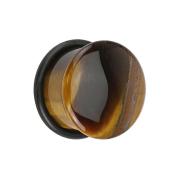Flared Plug aus Tigerauge Stein mit O-Ring