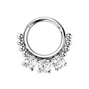Micro Segmentring silber klappbar Kugeln und drei Kristalle