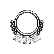 Micro Segmentring schwarz klappbar Kugeln und drei Kristalle