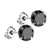Ohrstecker silber mit rundem Kristall schwarz