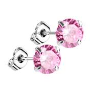 Ohrstecker silber mit rundem Kristall pink