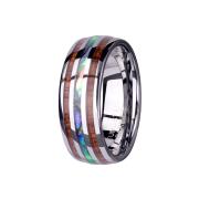 Ring silber mit Holz- und Abalonestreifen