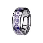 Ring silber blaues Carbon mit Steam Punk
