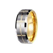 Ring vergoldet mittig gebürstet mit gerillten Kreuzen