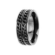 Ring schwarz mit zwei Ketten