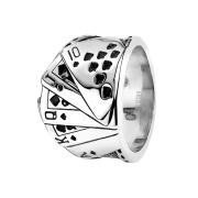 Ring silber Poker Royal Flush