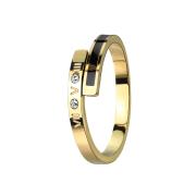 Ring vergoldet Römische Ziffern mit Kristall gerollt