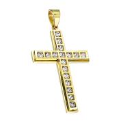 Anhänger vergoldet Kreuz mit Kristallen