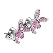 Ohrstecker silber mit Playboy Bunny Kristall pink