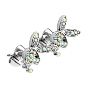 Ohrstecker silber mit Playboy Bunny Kristall multicolor