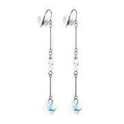 Ohrring silber freifallende Ketten mit vier Perlen