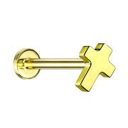 Micro Labret Innengewinde vergoldet Kreuz