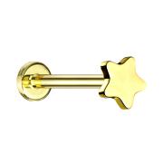 Micro Labret Innengewinde vergoldet Stern
