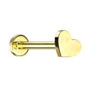 Micro Labret Innengewinde vergoldet Herz