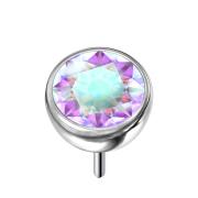 Threadless Halbkugel silber mit Kristall multicolor