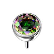 Threadless Halbkugel silber mit Kristall dunkel multicolor