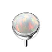 Threadless Halbkugel silber mit Opal weiss