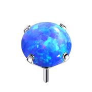 Threadless silber mit Opal blau gefasst