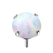 Threadless silber mit Opal weiss gefasst
