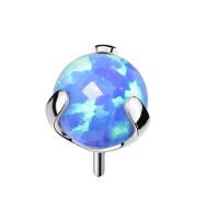 Threadless silber mit Kugel Opal blau gefasst