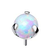 Threadless silber mit Kugel Opal weiss gefasst