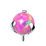 Threadless silber mit Kugel Opal pink gefasst