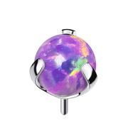 Threadless silber mit Kugel Opal violett gefasst