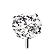 Threadless silber mit Kristall silber gefasst