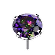 Threadless silber mit Kristall dunkel multicolor gefasst