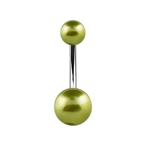 Banane silber mit zwei Perlenkugeln hellgrün