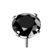 Threadless silber mit Kristall schwarz gefasst