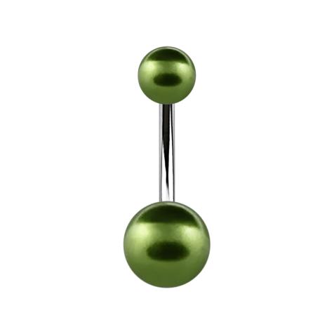 Banane silber mit zwei Perlenkugeln grün