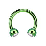 Circular Barbell grün mit zwei Kugeln Kristall silber