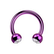 Circular Barbell violett mit zwei Kugeln Kristall silber
