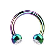 Circular Barbell farbig mit zwei Kugeln Kristall silber