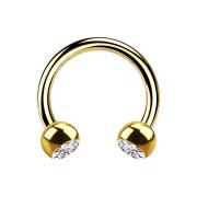Circular Barbell vergoldet mit zwei Kugeln Kristall silber
