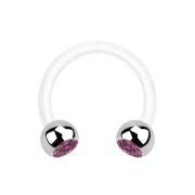 Micro Circular Barbell weiss mit zwei Kugeln silber Kristall pink