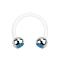 Micro Circular Barbell weiss mit zwei Kugeln silber Kristall hellblau