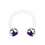 Micro Circular Barbell weiss mit zwei Kugeln silber Kristall violett