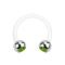 Micro Circular Barbell weiss mit zwei Kugeln silber Kristall hellgrün