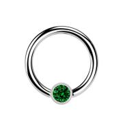 Micro Ball Closure Ring silber und Kristall grün