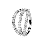 Micro Piercing Ring silber drei Ringe mit Kristallen