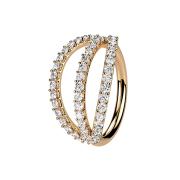 Micro Piercing Ring rosegold drei Ringe mit Kristallen