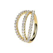 Micro Piercing Ring 14k vergoldet drei Ringe mit Kristallen